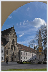 Heiligenkreuz Abbey - Inner courtyard (Vestaligo) Tags: november blue autumn sky church abbey austria europe courtyard cloister romanesque soe architectur loweraustria heiligenkreuz religiousarchitecture heiligenkreuzabbey