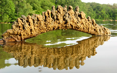 sand arc (upper mystic lake #1) (sandcastlematt) Tags: sculpture reflection castle beach sand massachusetts drip sandcastle winchester coolest sandsculpture sandybeach mysticriver bostonist dripcastle universalhub dripsculpture diamondclassphotographer flickrdiamond uppermysticlake