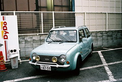 pao! (troutfactory) Tags: film car japan japanese parkinglot kyoto nissan voigtlander bessa rangefinder cult analogue pao kansai rare collector bluegrey dydo natura1600 r2a
