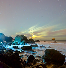 Primordial Stew (ec808x) Tags: ocean sanfrancisco longexposure nightphotography seascape motion night clouds d50 stars coast movement nikon wideangle landsend paintingwithlight moonlight startrails tamron1118mm