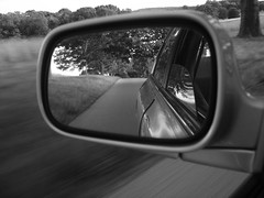 6-23-07 022 bw (LadyMohan) Tags: from road bw white black car mirror winding behind sideview photofaceoffwinner pfogold