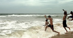 Riders on the storm (Aditya Rao.) Tags: trip friends sea sun india beach rain canon french amazing university joy bits pondicherry rachit puducherry superaplus aplusphoto