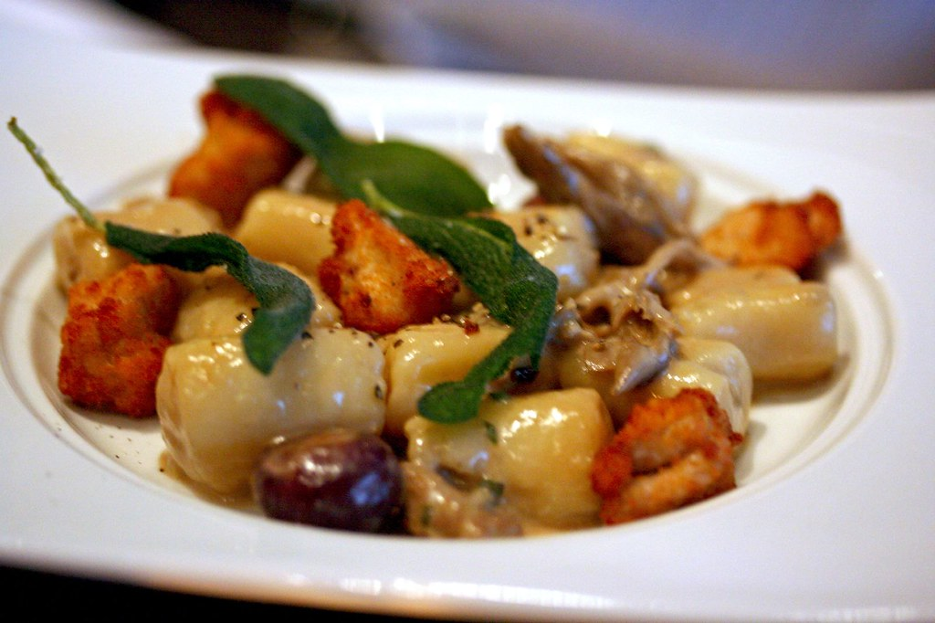 Garlic Gnocchi with Crispy Sweetbreads