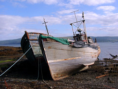 """Old fishing boats (nz_willowherb) Tags: see scotland boat tour vessel visit fishingboats mull wrecks salen to"""" """"go"""