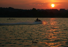 Sunset over the Potomac (Deepak & Sunitha) Tags: sunset red sky orange sun water river boat duck dc washington potomac slashd