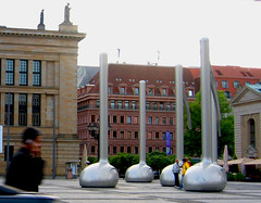 Business or music? (Lori Greig) Tags: travel music blur berlin art architecture germany notes sightseeing cellphone outdoorsculpture largescale walkofideas