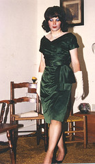 1957 green satin custom dress (Margaret Cook) Tags: christmas wood xmas blue winter brown white black classic glass colors girl beautiful beauty fashion lady self vintage photography chair shoes pretty pumps floor legs cd picture makeup gloves rug brunette marge crossdress pinup shortskirt