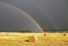 Harvest Rainbows (James_at_Slack) Tags: test rain scotland rainbow aberdeenshire harvest straw bec bales doublerainbow excellentcapture