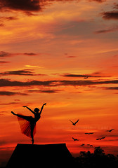 Dance with me on the rooftop (Three less neurons per minute) Tags: autumn sky orange rooftop birds silhouette clouds airplane dance ballerina orangesky unforgettable birdssilhouette ballerinasilhouette rooftopsilhouette niunidadphotography ballerinaonrooftop