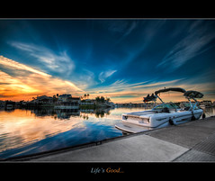 Life's Good , Discovery Bay California (HDR) (Exploring Earth) Tags: california ca sunset beautiful marina wow bay pier boat dock nikon wake adobe elite wakeboarding discoverybay dri hdr photomatix sigma1020 cs5