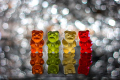 Yummy bokeh (grazanna) Tags: reflection colors yummy sweet bokeh bears gummy riflesso canon50mm orsetti gommosi