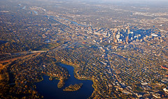 Flying away from Minneapolis (WorldofArun) Tags: city minnesota creek skyscraper evening waterfall airport community nikon october downtown skyscrapers metro flight scenic parks trails minneapolis msp grand swedish system neighborhood norwegian landing parkway wetlands mississippiriver interstate twincities cedarlake volunteer saintpaul takeoff scandinavian cityskyline 2010 windowseat i94 philanthropy rounds upintheair 18200mm minnesotariver chainoflakes i35w cityofminneapolis lakeofisles d40x landof10000lakes minneapolissaintpaulinternationalairport worldofarun arunyenumula bywaycultural organizationtheatervisual artmusicfortune 500headquarterslive theatermetrodomepark