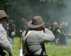 Taking Aim (Photofarrell) Tags: people art classic tag3 taggedout outdoors tag2 tag1 d70s indiana civilwar