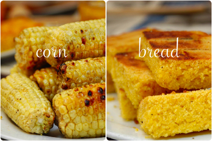 Grilled corn and warm corn bread