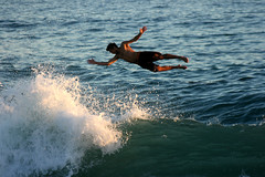 Wave Running: Jeff at Aliso, South Laguna Beach (EthnoScape) Tags: california sunset beach jeff jump jumping aerial liftoff launch splash lagunabeach aliso bodyboarder bodyboarders jefft jefftait