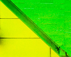 A yellow and a green triangle (manganite) Tags: house green geometric topf25 colors lines yellow japan wall triangles stairs digital buildings geotagged nikon colorful asia tl symmetry minimal  nippon d200 minimalism nikkor dslr minimalistic nihon kanto tsuchiura ibaraki 50mmf18 arakawaoki utatafeature manganite nikonstunninggallery challengeyou challengeyouwinner colorphotoaward top20green geo:lat=36033501 geo:lon=1401711 date:year=2006 date:month=september date:day=24 format:ratio=54