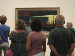 people watching art