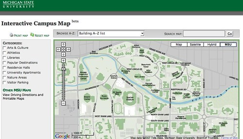 MSU Interactive Campus Map Screenshot
