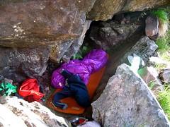 Endroit du bivouac à 100 m de la grotte/cascade, côté Silvastriccia