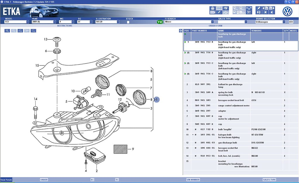 Scirocco Central View Topic Xenons Headlamp Unit