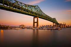 The Maurice J. Tobin Memorial Bridge (chris lazzery) Tags: longexposure bridge sunset boston chelsea massachusetts charlestown 5d tobinbridge canonef1740mmf4l bw30nd