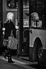 Take a bus (Paul J White) Tags: bw woman reflection bus newcastle mono blonde toon spnp pauljwhite streetphotographynowproject