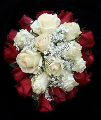 Red Rose Bouquet (Florabella Design) Tags: red roses cream bouquet teardrop babysbreath weddingbouquet