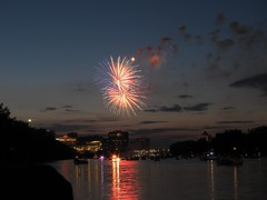 Fireworks and sunset (sanpani) Tags: sunset water canon river fireworks july4th hartford connecticutriver canons90