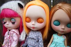my 3 newest Frankie girls (stuffbykate) Tags: doll blythe neo sh takara ih rbl sleepyeyes factorygirl frankiedarlingcustom customlids
