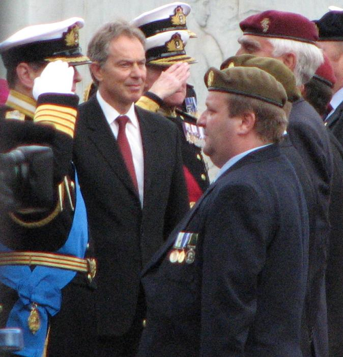 Prince Charles and Tony Blair at the Falklands anniversary