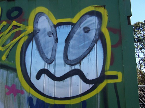 Face on shipping container Railway Street Woy Woy