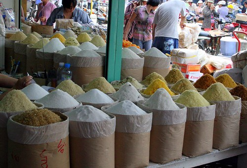Piles of sugar at the market in Cholon