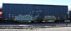 Ahcer - Slame (Rainier Beer 12oz) Tags: railroad urban art train graffiti paint track traintracks spray acer spraypaint sos graff traintrack railfan freight freighttrain trainart graffi benched benching