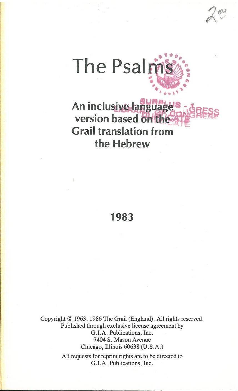 Grail Psalter (Joseph Gelineau) - Internet Bible Catalog