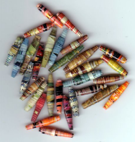 Handmade Recycled Paper Beads-Assortment 28 by Becky F