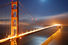 Golden Gate, by Moonlight [2] (Tyler Westcott) Tags: sanfrancisco california longexposure bridge shadow moon reflection fog night marin explore goldengatebridge goldengate moonlight marinheadlands sfchronicle96hrs abigfave nikond40 frhwofavs bdppow flickrelite thegoldenmermaid