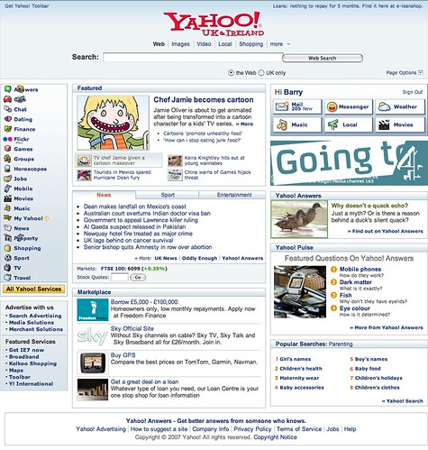 yahoo uk new  layout