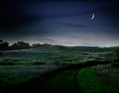 The night country - landscape night dusk twilight moon serenity blended serene winnerbc crescent country