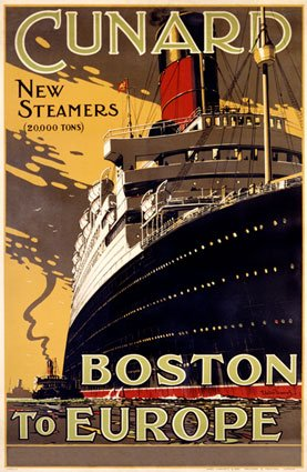 Cunard-Line-Boston-to-Europe- Vintage Travel Poster