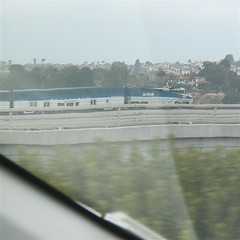 A San Diego bound Amtrak train south of Carlsbad, CA