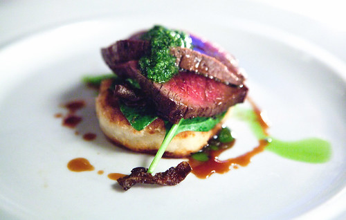 New Zealand venison loin, Cabrales dumplings, oyster mushrooms and salsa verde