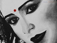 Just the way you are (fahid chowdhury) Tags: she bw white black art girl beautiful smile face painting way nose artwork eyes you lips dot canvas just oil fahid chowdhury