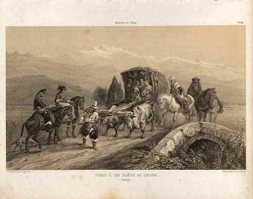 035-Paseo a los baños de Colina en Santiago-Atlas de la historia física y política de Chile-1854-Claudio Gay