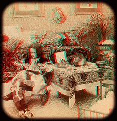Patchwork 1898 anaglyph 3D (depthandtime) Tags: old original cat vintage found stereoscopic 3d doll child play view antique sewing 19thcentury victorian anaglyph stereo card stereoview stereograph foundphoto anaglyphic 1898 stereographic turnofthecentury redcyan stereocard underwoodunderwood strohmeyerwyman