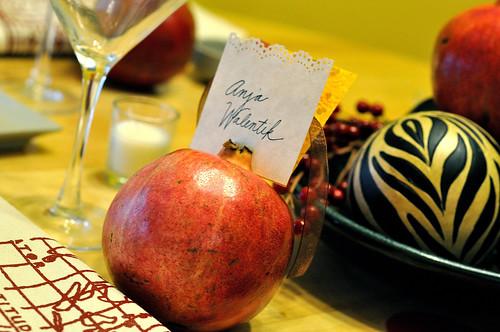 Pomegranate table settings