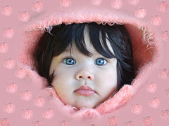 Pretty in pink (bespoke) Tags: pink blue iris portrait baby cute girl beautiful eyes princess daughter hood marbles pompoms bespoke connolly interestingness33 i500