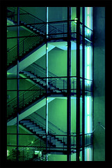 staircase by night (Paul Petruck) Tags: city blue green colors night stairs cityscape stripes jena staircase magical superaplus aplusphoto
