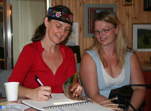 Kari Tauring signs her book for Marin Amdal