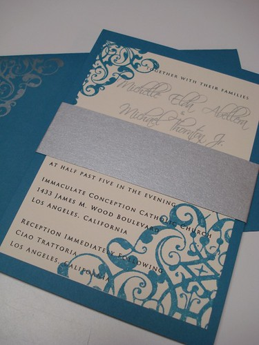 Wedding Invitations - Michael & Michelle, Wedding invitation blue color, wedding cakes, flowers, invitation, photos, gowns, dresses