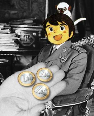 Tres monedas de Euro sobre una mano junto a Marco